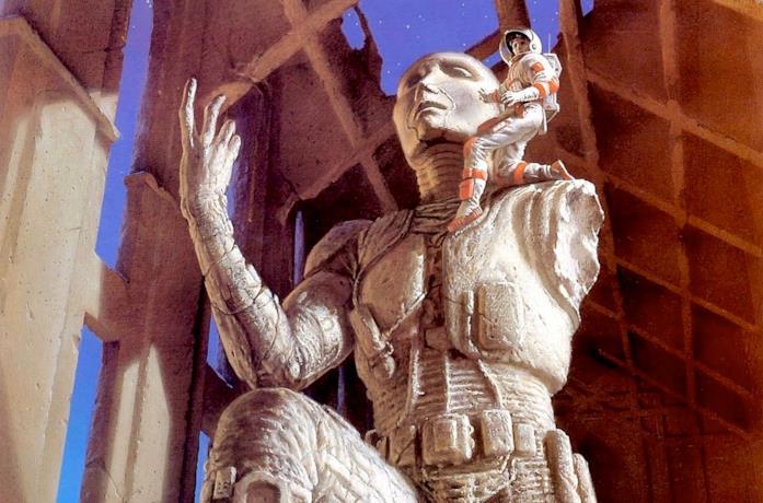 Un'illustrazione di Michael Whelan per la ristampa di Foundation di Asimov