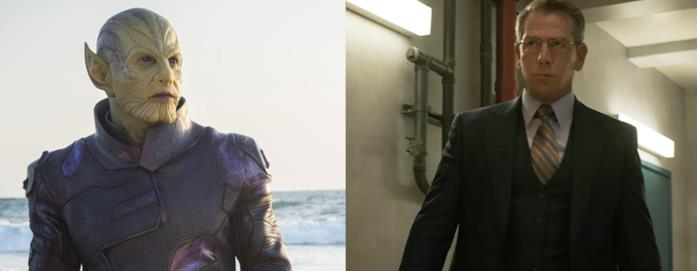 A sinistra Talos, a destra Keller; scene di Captain Marvel