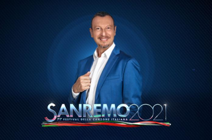 Amadeus e il logo di Sanremo 2021