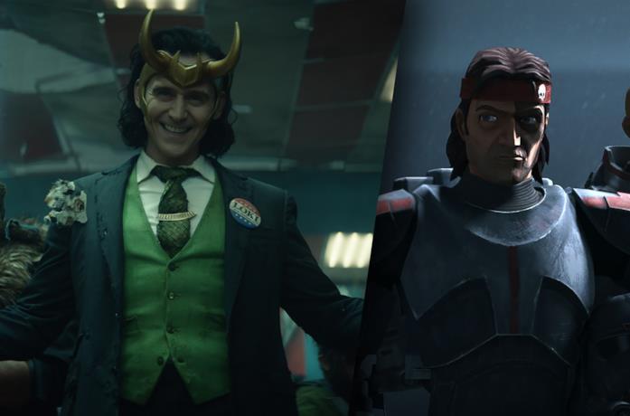 A sinistra Loki, a destra un clone di Star Wars: The Bad Batch