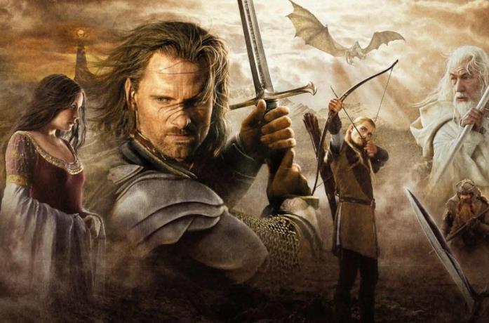 Aragorn, Gandalf il Bianco, Legolas e Arwen