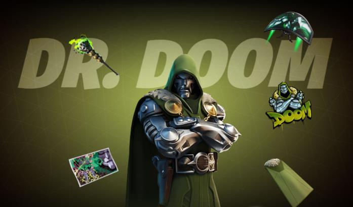 Immagine promozionale del costume di Dr. Doom in Fortnite