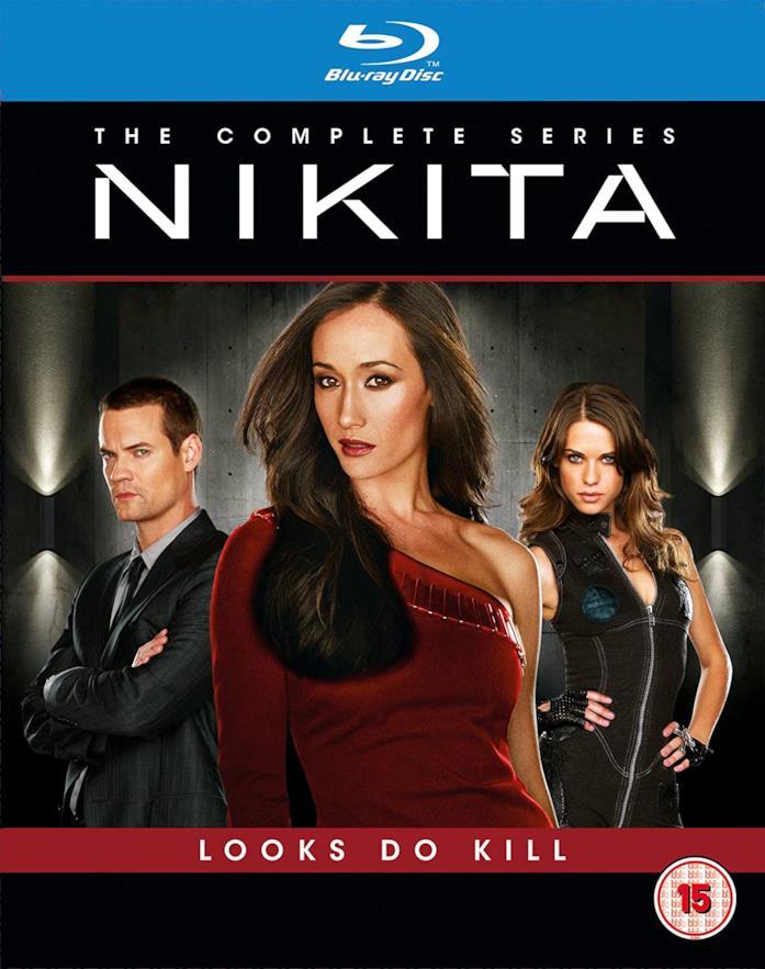 Maggie Q, Shane West e Lyndsy Fonseca nella copertina del cofanetto Blu-ray di Nikita