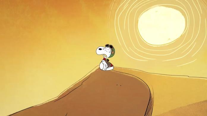 Snoopy sta camminando nel deserto, ma inizia a essere accaldato