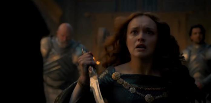 Alicent Hightower in una scena del trailer di House of the Dragon