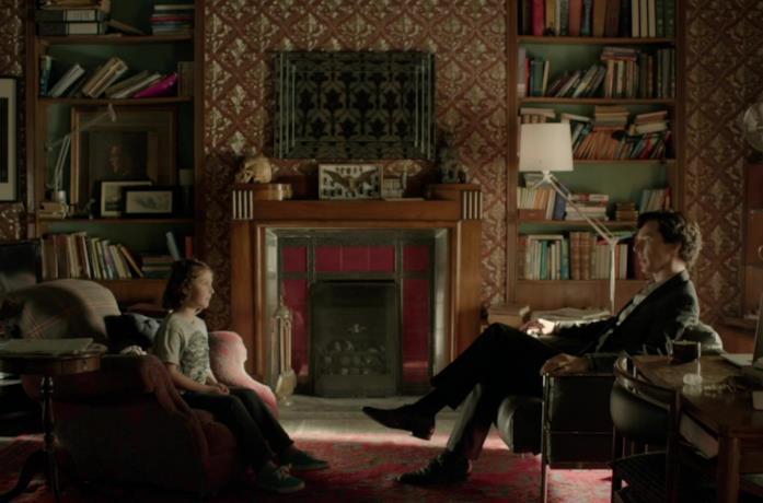 L'appartamento di Sherlock Holmes in una scena della serie