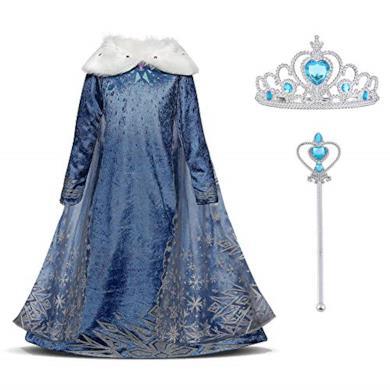 URAQT Snow Queen Elsa Frozen Vestito Set, Winter Party Princess Dress Costume con Colletto in Peluche per 5-6 Anni