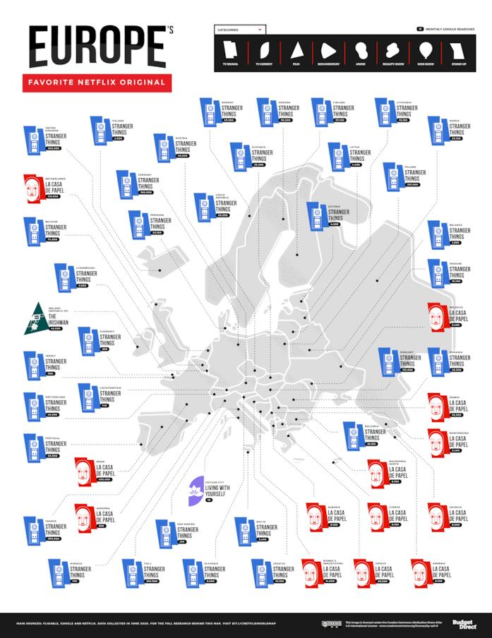La mappa degli originali Netflix preferiti in Europa