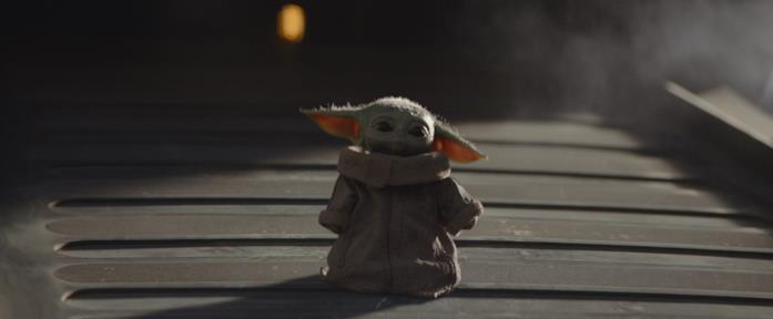 Il Bambino in una scena della serie TV The Mandalorian