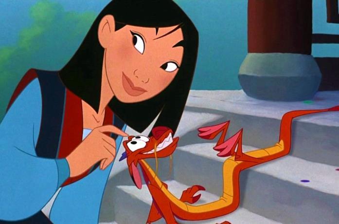 Un'immagine tratta dal film d'animazione Mulan che ritrae Mulan e Mushu