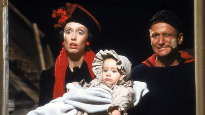 Un'immagine con i protagonisti del film Popeye - Braccio di Ferro