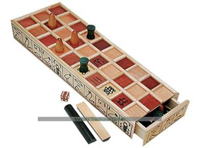 Ancient Egyptian Senet Game - Wooden Board with Red Squares, Wooden Pieces And Binary Dice