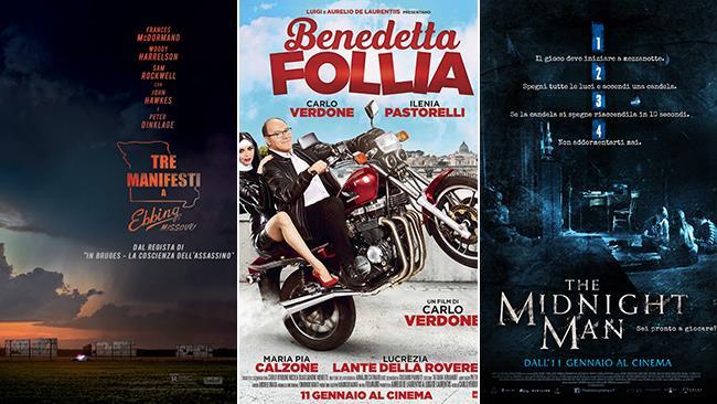 I poster dei film Tre Manifesti a Ebbing, Missouri, Benedetta Follia, The Midnight Man