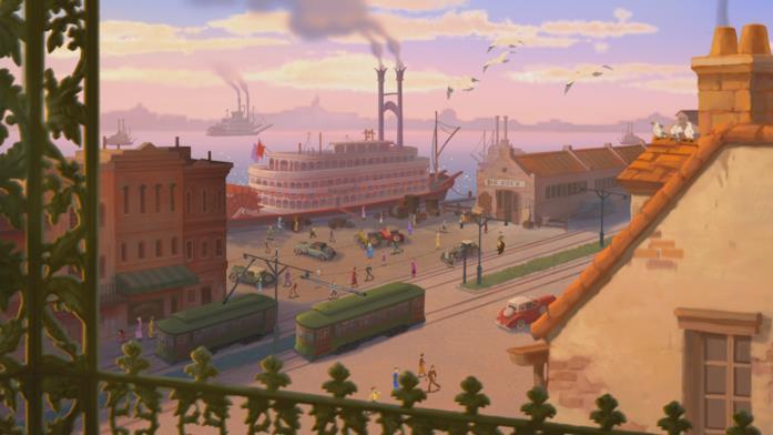 Un panorama urbano del film La principessa e il ranocchio