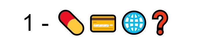 Emoji Pillola carta di credito mondo punto di domanda