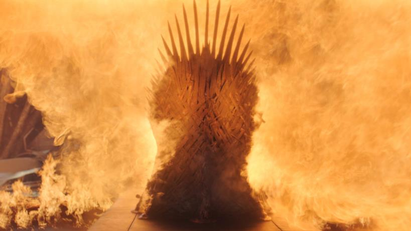 Il trono in fiamme nell'episodio di GoT 8x06, The Iron Throne