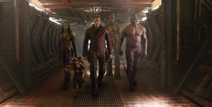 Da sinistra a destra: Gamora, Rocket Raccon, Star-Lord, Groot e Drax