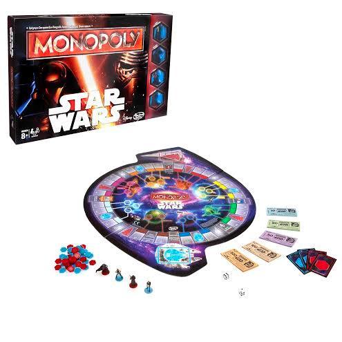 La scatola e la plancia di gioco del Monopoly dedicato a Star Wars di Hasbro