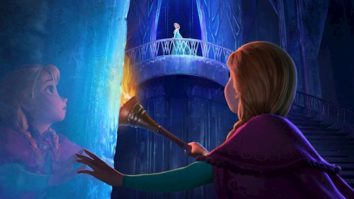 Un'immagine di Frozen - Il regno di ghiaccio con Anna che trova sua sorella Elsa al palazzo di ghiaccio