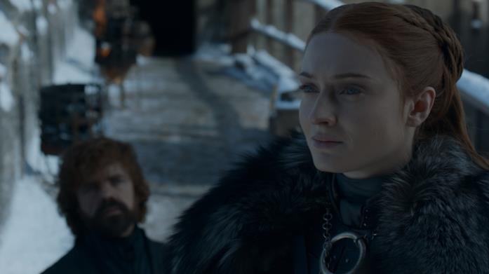 Peter Dinklage e Sophie Turner in Game of Thrones 8x04