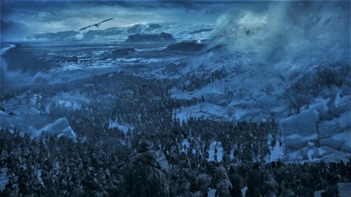 Dalla stagione 7 di Game of Thrones, una veduta dell'esercito del Re della Notte