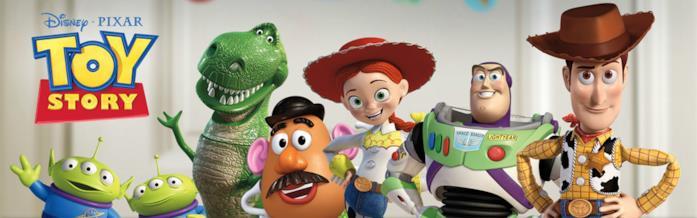 I personaggi di Toy Story: Rex, Jessie, Mr Potato, Woody, Buzz e gli squeeze