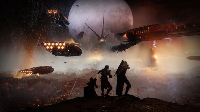 Tre Guardiani assistono alla caduta della Torre in Destiny 2