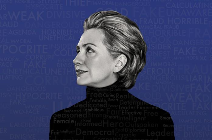 Primo piano di Hillary Clinton