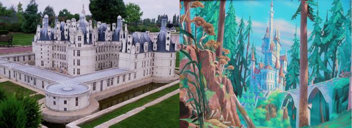 Il castello di Chambord e il castello del film La Bella e la Bestia a confronto