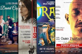 I poster di La vita straordinaria di David Copperfield, The Secret, Trash, Il caso Pantani