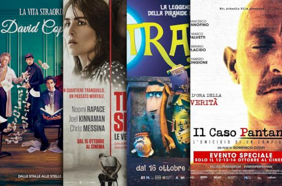 I poster di La vita straordinaria di David Copperfield, The Secret, Trash, Il caso Pantani