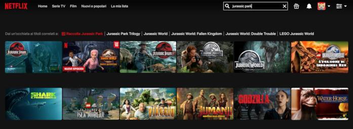 Jurassic Park: ricerca del titolo su Netflix