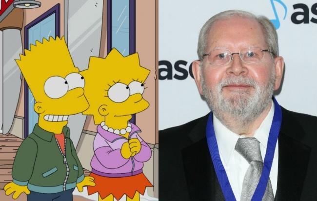 In foto Bart, Lisa e il compositore dei Simpson Alf Clausen