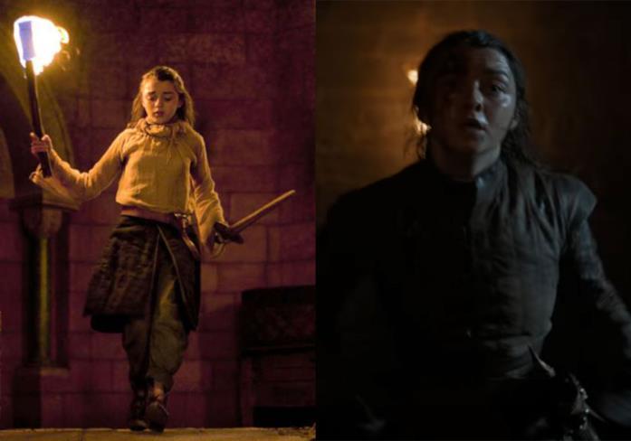Arya in fuga nelle stagioni 1 e 8