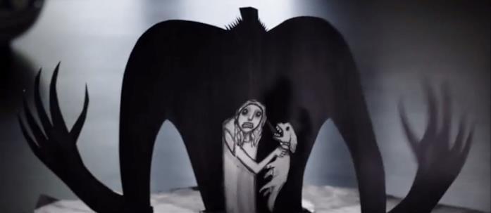 """Nel libro """"Mr. Babadook"""", una figura di carta nera e inquietante incombe su una terribile Amelia nell'atto di strozzare il cagnoino"""