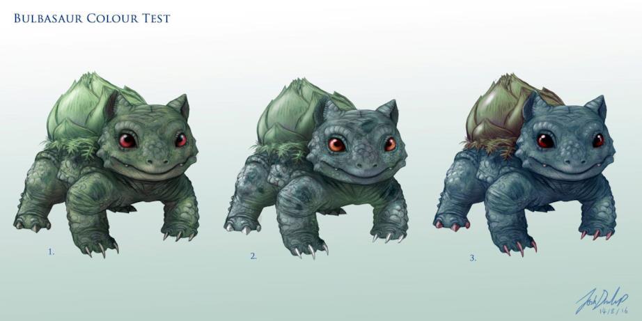 Alcuni test di colore per Bulbasaur nel mondo reale fatti da Joshua Dunlop
