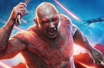 Dave Bautista nel ruolo di Drax il Distruttore in un promo dei Guardiani della Galassia Vol. 2