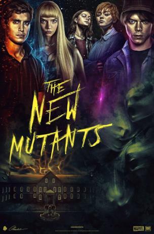 La scritta gialla e i nuovi mutanti nella parte alta del poster