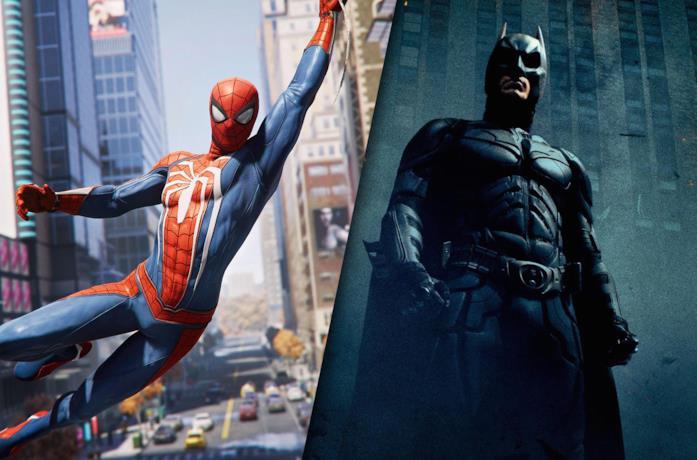 Da sinistra: Spider-Man di Marvel's Spider-Man per PS4 e Batman da The Dark Knight