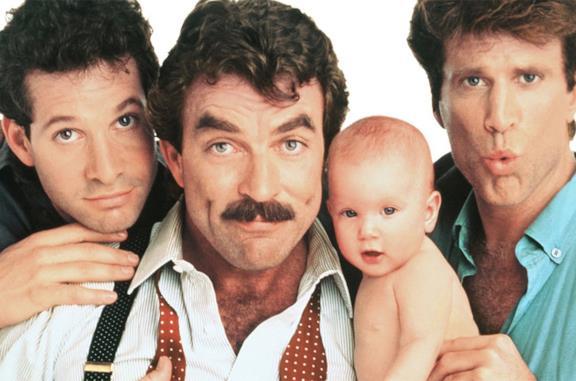 Il cast di Tre scapoli e un bebè