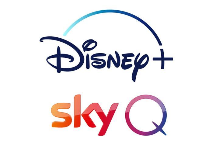 I loghi di Disney+ e Sky Q