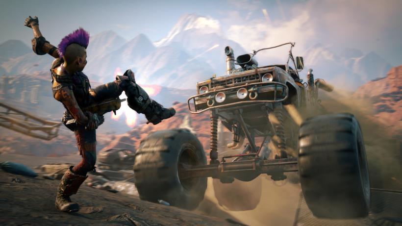 Un personaggio e un monster truck a confronto in Rage 2
