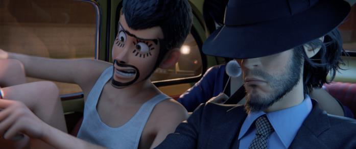 Lupin e Jiken a bordo del maggiolone