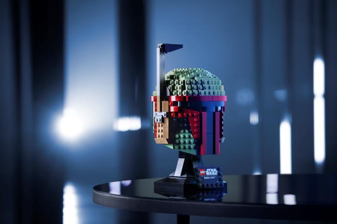Il casco LEGO di Boba Fett in esposizione