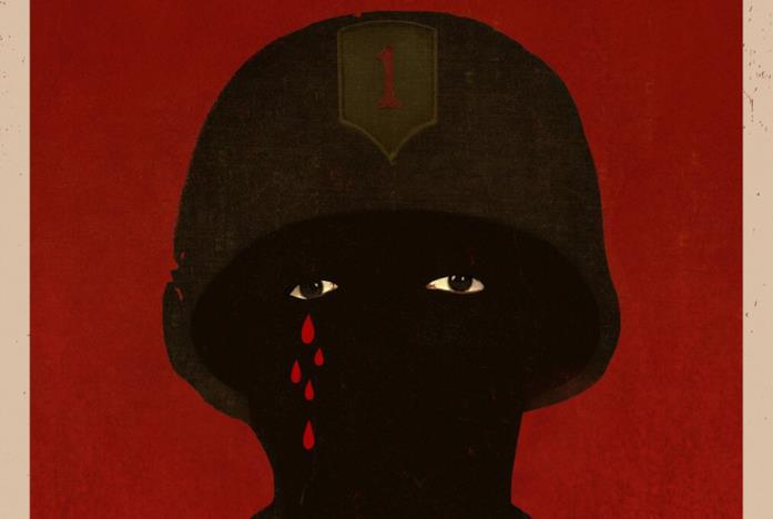 Una figura nera che piange sangue nel poster di Da 5 blood