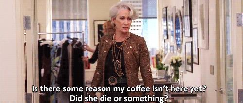Miranda Priestly scena caffè