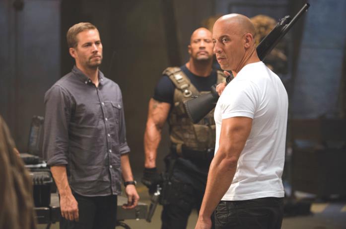 Da sinistra: Paul Walker, Dwayne Johnson e Vin Diesel