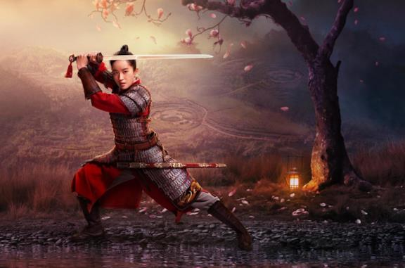 Mulan in armatura e con la spada