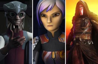 Da sinistra i personaggi di Star Wars Hondo Ohnaka, Sabine Wren e Revan