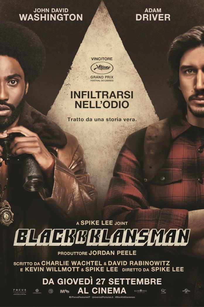 John David Washington e Adam Driver nel poster italiano di BlacKkKlansman